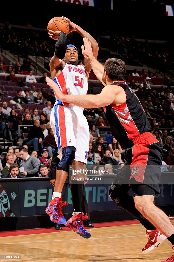 <a gi-track='captionPersonalityLinkClicked' href=/galleries/search?phrase=Corey+Maggette&family=editorial&specificpeople=201596 ng-click='$event.stopPropagation()'>Corey Maggette</a> #50 of the Detroit Pistons shoots against the Toronto Raptors on November 23, 2012 at The Palace of Auburn Hills in Auburn Hills, Michigan.