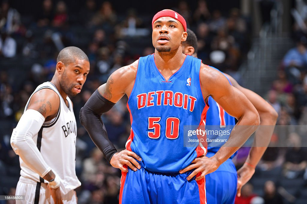 Corey Maggette #50 of the Detroit Pistons waits to resume action against the Brooklyn Nets at the Barclays Center on December 14, 2012 in the Brooklyn borough of New York City.