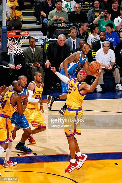 Corey Maggette of the Golden State Warriors grabs a rebound during the game against the New Orleans Hornets on March 17 2009 at Oracle Arena in...