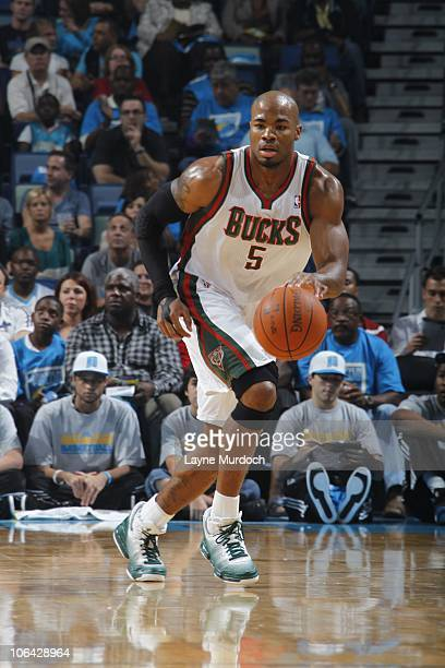 Corey Maggette of the Milwaukee Bucks drives during the game against the New Orleans Hornets on October 27 2010 at the New Orleans Arena in New...