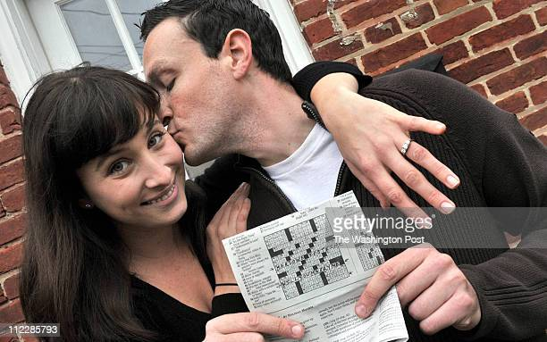 Corey Newman who proposed to his girlfriend Marlowe Epstein via a crossword puzzle in the Washington Post style section on April 16 2011 in...