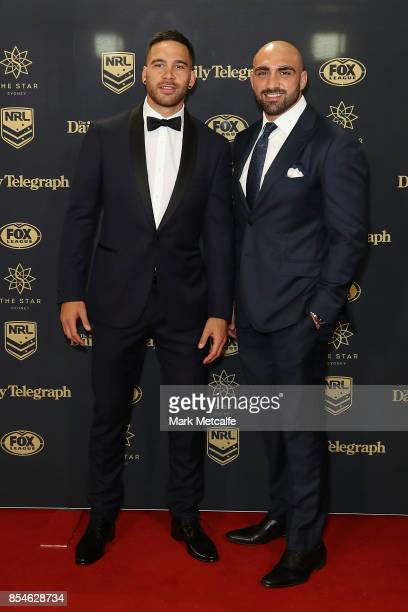 Corey Norman and Tim Mannah arrive ahead of the 2017 Dally M Awards at The Star on September 27 2017 in Sydney Australia