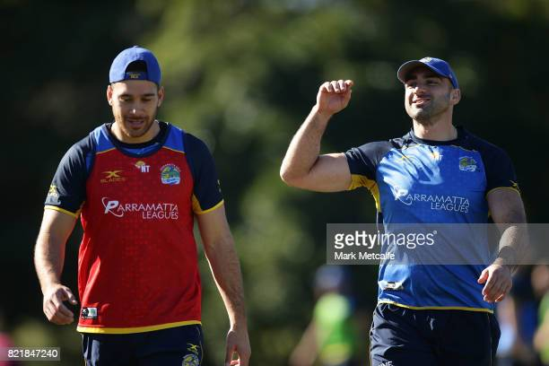 Corey Norman and Tim Mannah smile during a Parramatta Eels NRL training session at on July 25 2017 in Sydney Australia