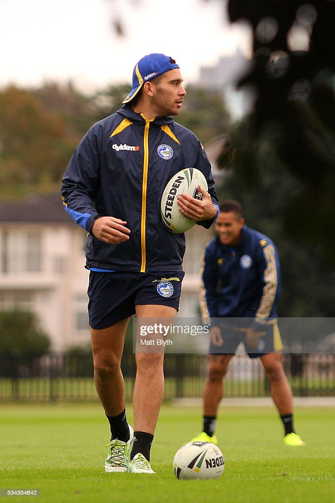 Corey Norman looks on during a training session after a Parramatta Eels NRL media opportunity at the Eels Training Centre on May 26, 2016 in Sydney, Australia.