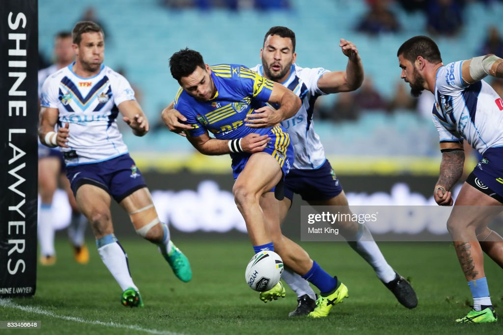 Corey Norman of the Eels drops the ball over the line during the round 24 NRL match between the Parramatta Eels and the Gold Coast Titans at ANZ Stadium on August 17, 2017 in Sydney, Australia.
