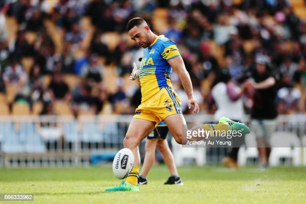 Corey Norman of the Eels during warmup prior to the round six NRL match between the New Zealand Warriors and the Parramatta Eels at Mt Smart Stadium...
