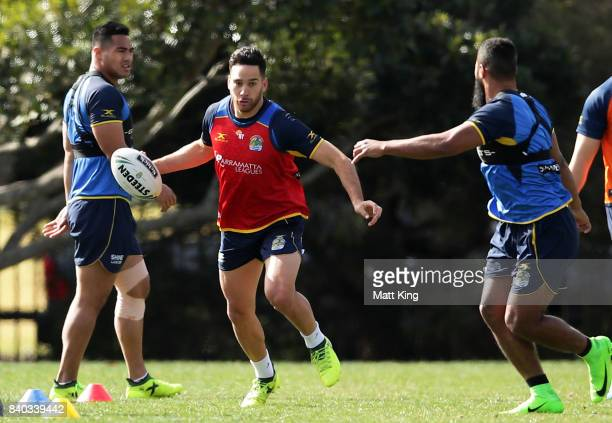 Corey Norman of the Eels handles the ball during a Parramatta Eels NRL training session at Old Saleyards Reserve on August 29 2017 in Sydney Australia