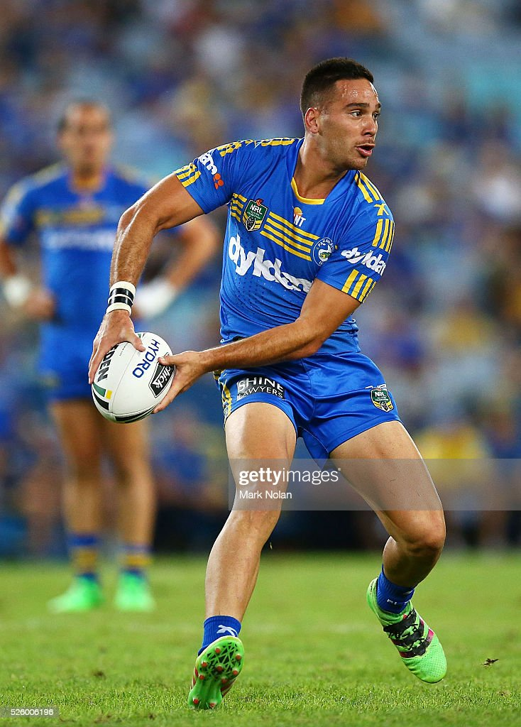 Corey Norman of the Eels in action during the round nine NRL match between the Parramatta Eels and the Canterbury Bulldogs at ANZ Stadium on April 29, 2016 in Sydney, Australia.
