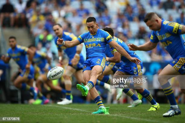 Corey Norman of the Eels kicks off to start round eight NRL match between the Parramatta Eels and the Penrith Panthers at ANZ Stadium on April 22...