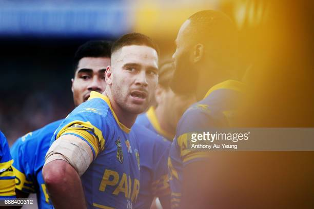 Corey Norman of the Eels looks on during the round six NRL match between the New Zealand Warriors and the Parramatta Eels at Mt Smart Stadium on...