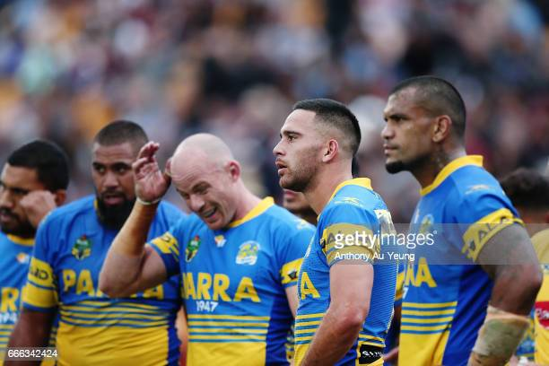 Corey Norman of the Eels looks on with the team during the round six NRL match between the New Zealand Warriors and the Parramatta Eels at Mt Smart...