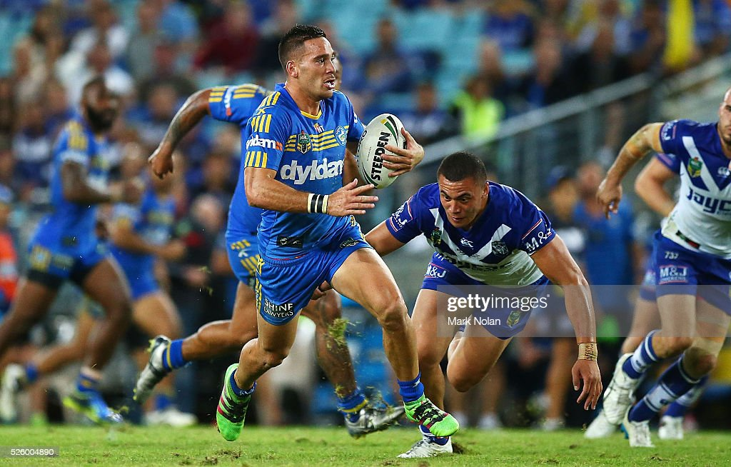 Corey Norman of the Eels makes a line break during the round nine NRL match between the Parramatta Eels and the Canterbury Bulldogs at ANZ Stadium on April 29, 2016 in Sydney, Australia.