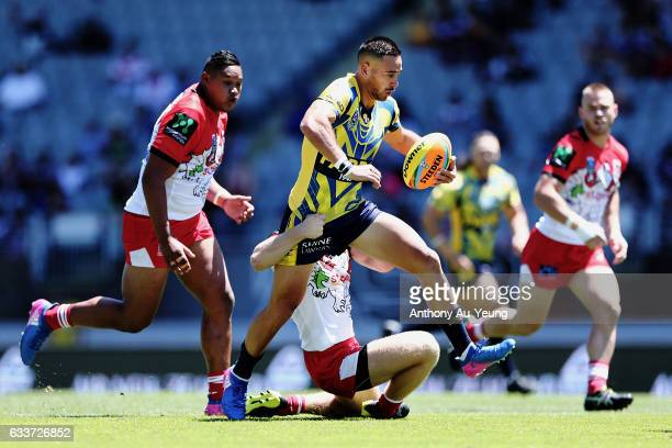 Corey Norman of the Eels makes a run during the 2017 Auckland Nines match between the Dragons and the Eels at Eden Park on February 4 2017 in...
