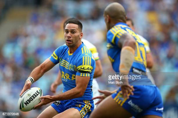 Corey Norman of the Eels offloads the ball during the round eight NRL match between the Parramatta Eels and the Penrith Panthers at ANZ Stadium on...