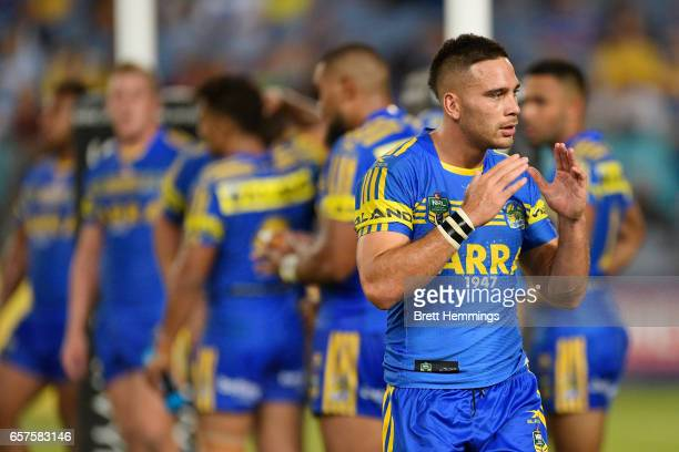 Corey Norman of the Eels reacts during the round four NRL match between the Parramatta Eels and the Cronulla Sharks at ANZ Stadium on March 25 2017...