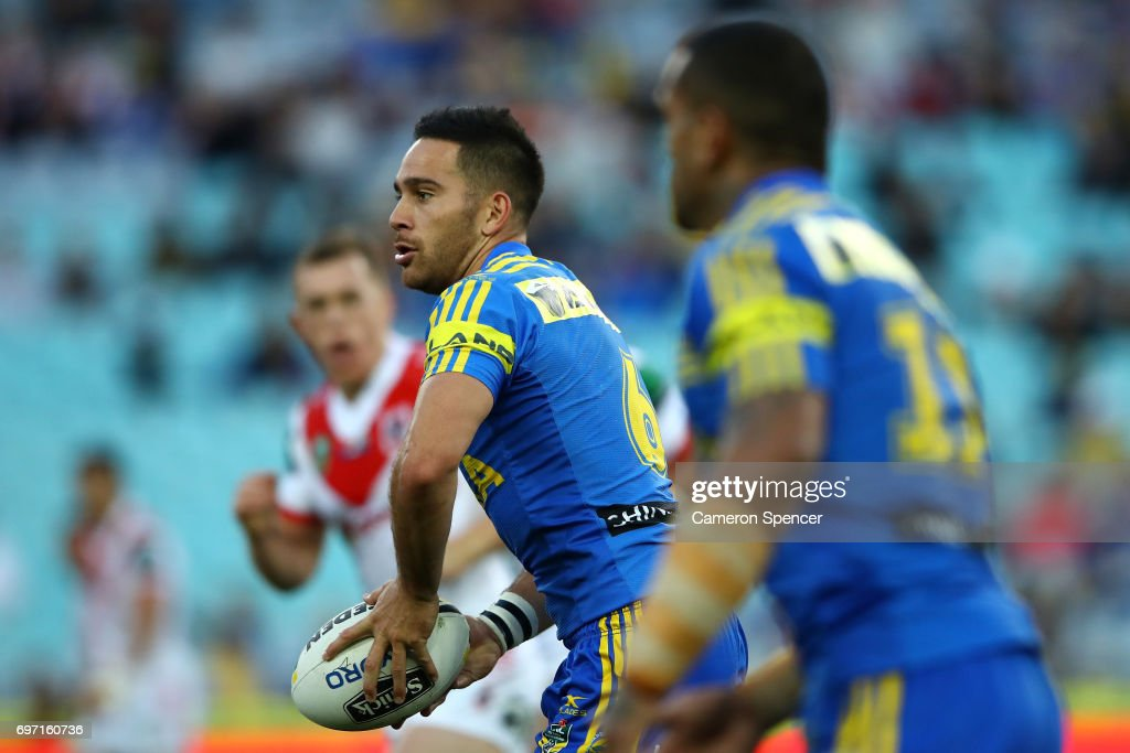 Corey Norman of the Eels runs the ball during the round 15 NRL match between the Parramatta Eels and the St George Illawarra Dragons at ANZ Stadium on June 18, 2017 in Sydney, Australia.