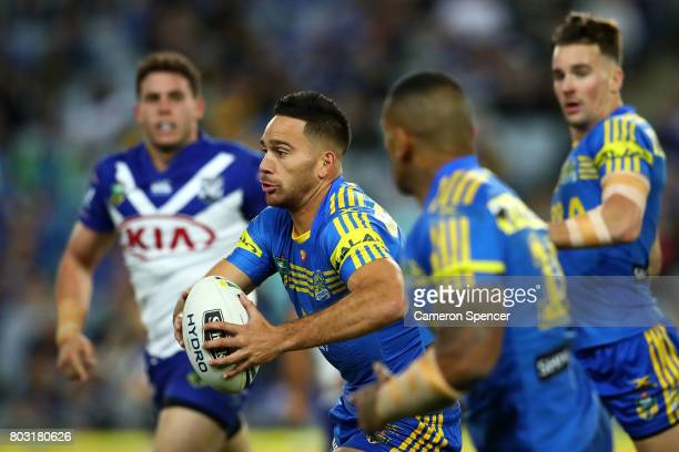 Corey Norman of the Eels runs the ball during the round 17 NRL match between the Parramatta Eels and the Canterbury Bulldogs at ANZ Stadium on June...