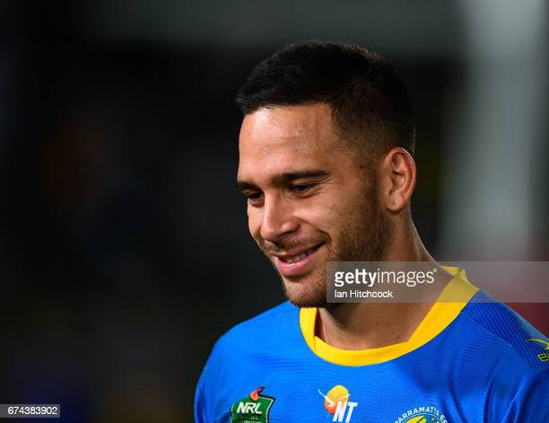 Corey Norman of the Eels smiles after winning the round nine NRL match between the North Queensland Cowboys and the Parramatta Eels at 1300SMILES...