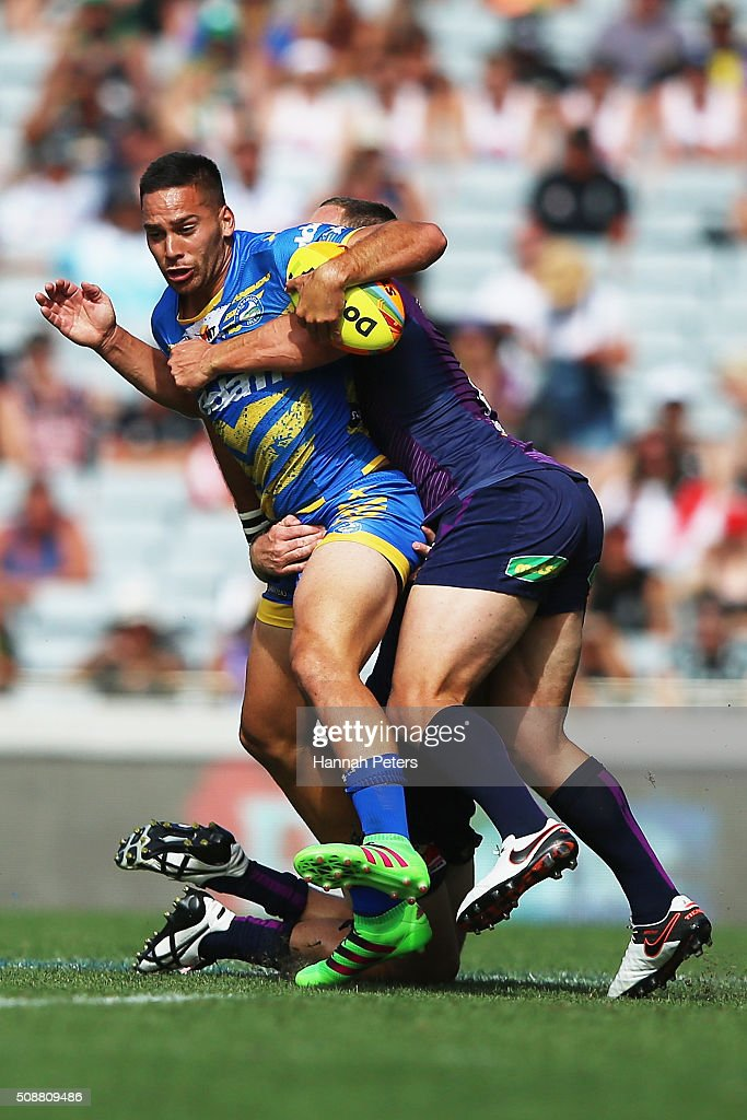 Corey Norman of the Parramatta Eels charges forward during the 2016 Auckland Nines semi final match between the Parramatta Eels and the Melbourne Storm at Eden Park on February 7, 2016 in Auckland, New Zealand.