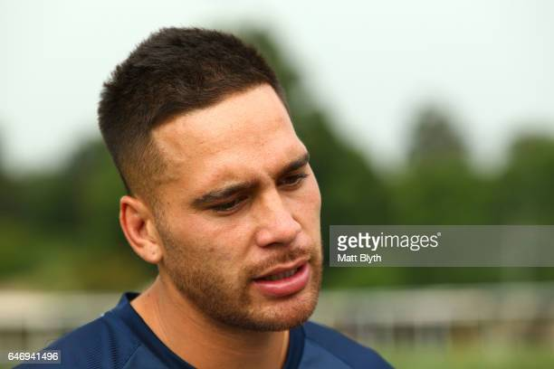 Corey Norman talks to the media during the Parramatta Eels NRL Media Day at Old Sales Yard Reserve on March 2 2017 in Sydney Australia