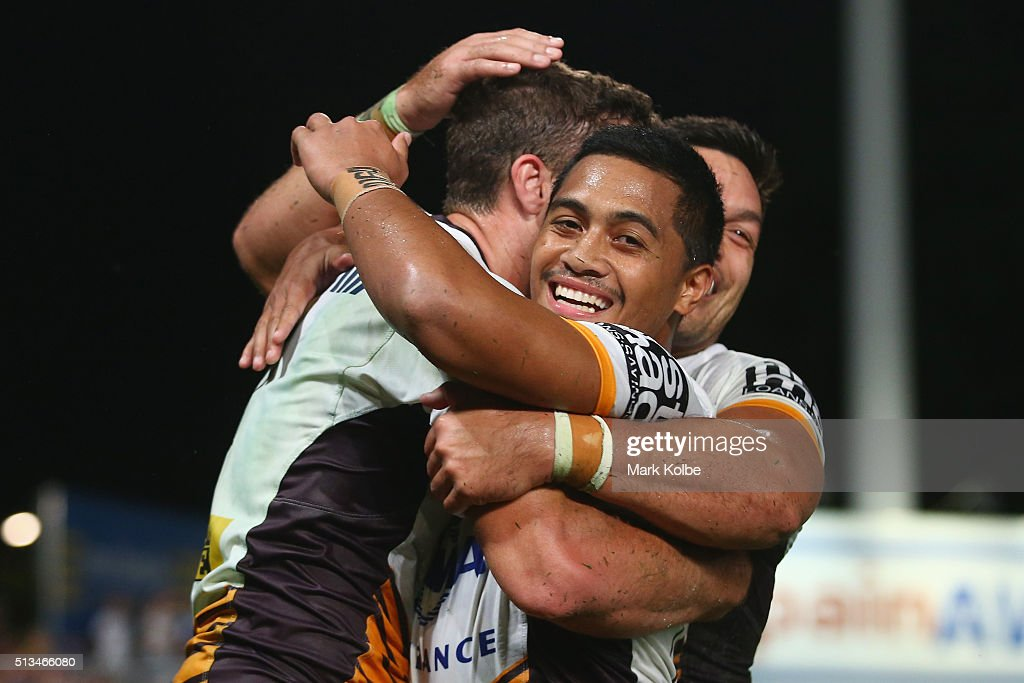 Corey Oates and Anthony Milford of the Broncos celebrate a try only to have it disallowed during the round one NRL match between the Parramatta Eels and the Brisbane Broncos at Pirtek Stadium on March 3, 2016 in Sydney, Australia.
