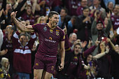 Corey Oates of the Maroons celebrates during game two of the State Of Origin series between the Queensland Maroons and the New South Wales Blues at...