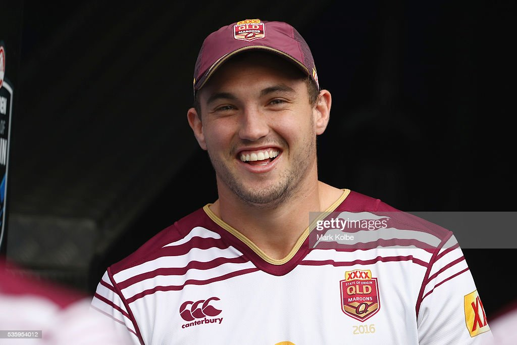 Corey Oates shares a joke with a team mate as he walks out of the tunnel during a Queensland Maroons State Of Origin captain's run at ANZ Stadium on May 31, 2016 in Sydney, Australia.