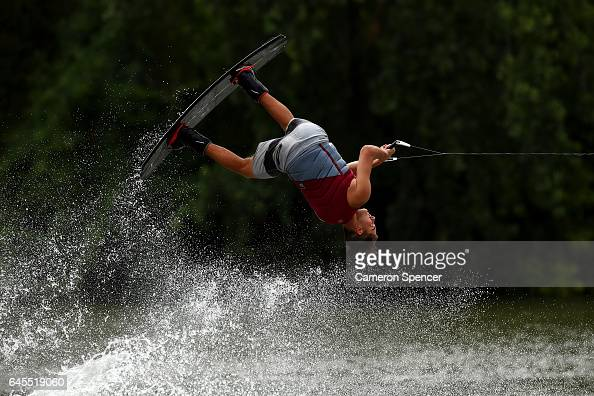 Corey Olsen competes in the NSW Wakeboarding State Titles at Govenor Phillip Park in Windsor on February 26 2017 in Sydney Australia
