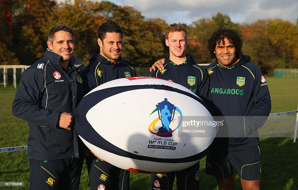 Corey Parker, Jarryd Hayne, Daly Cherry-Evans and Sam Thaiday of Australia help kick off the Mancunians inaugural Year 10 tournament the largest Rugby League schools event held in the city of Manchester at Parrswood High School on November 12, 2013 in Manchester, England.