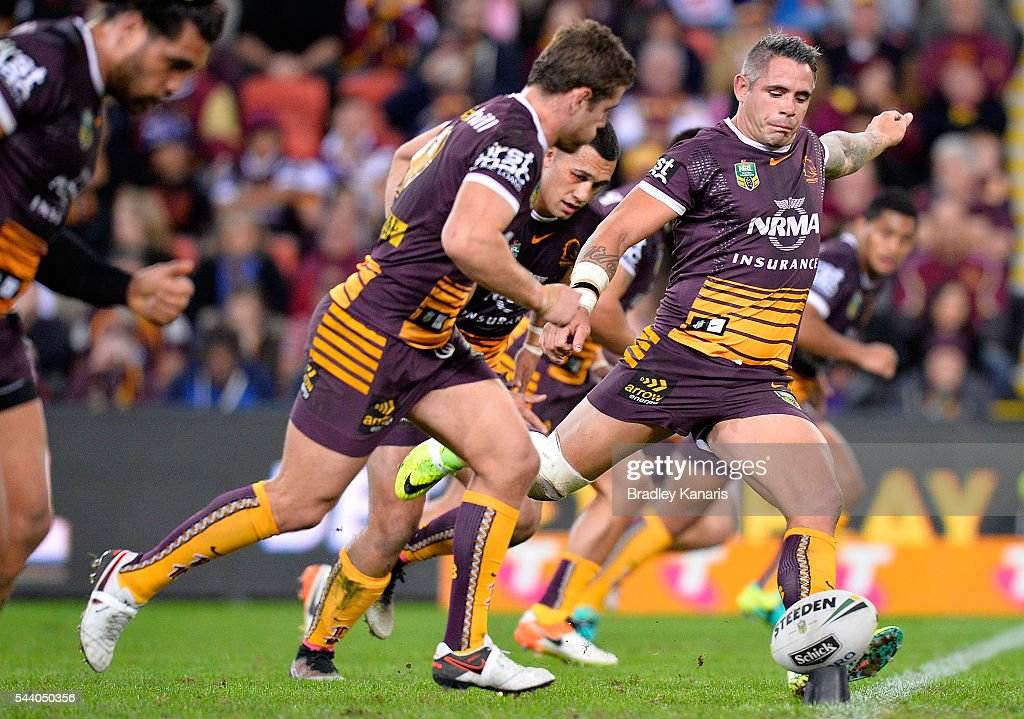 <a gi-track='captionPersonalityLinkClicked' href=/galleries/search?phrase=Corey+Parker+-+Rugby+Player&family=editorial&specificpeople=11188763 ng-click='$event.stopPropagation()'>Corey Parker</a> of the Broncos kicks the ball during the round 17 NRL match between the Brisbane Broncos and the Melbourne Storm at Suncorp Stadium on July 1, 2016 in Brisbane, Australia.