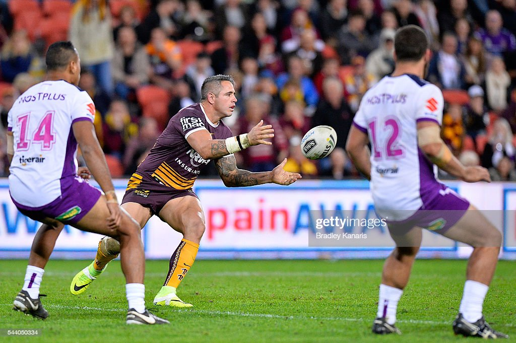 <a gi-track='captionPersonalityLinkClicked' href=/galleries/search?phrase=Corey+Parker+-+Rugby+Player&family=editorial&specificpeople=11188763 ng-click='$event.stopPropagation()'>Corey Parker</a> of the Broncos passes the ball during the round 17 NRL match between the Brisbane Broncos and the Melbourne Storm at Suncorp Stadium on July 1, 2016 in Brisbane, Australia.