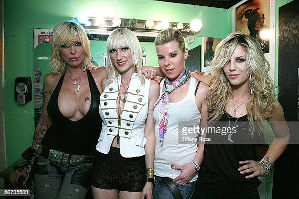 Corey Parks Tuesdae Samantha Maloney and Allison Robertson of the Chelsea Girls pose at The Roxy on May 7 2009 in West Hollywood California
