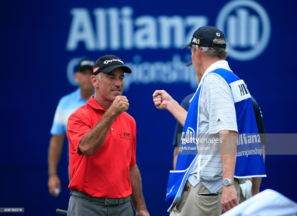 <a gi-track='captionPersonalityLinkClicked' href=/galleries/search?phrase=Corey+Pavin&family=editorial&specificpeople=179386 ng-click='$event.stopPropagation()'>Corey Pavin</a> celebrates after making a birdie on the 18th green to take the lead by one stroke during the second round of the Allianz Championship held at The Old Course at Broken Sound on February 6, 2016 in Boca Raton, Florida.