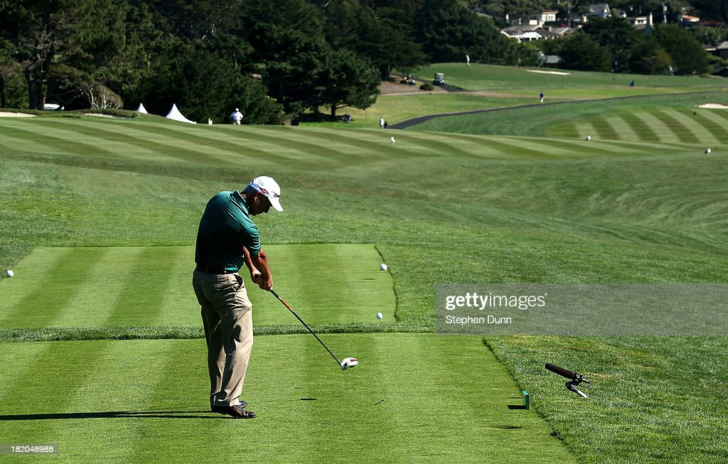 <a gi-track='captionPersonalityLinkClicked' href=/galleries/search?phrase=Corey+Pavin&family=editorial&specificpeople=179386 ng-click='$event.stopPropagation()'>Corey Pavin</a> hits his tee shot on the ninth hole durng the first round of the Nature Valley First Tee Open at Pebble Beach at Pebble each Golf Links on September 27, 2013 in Pebble Beach, California.