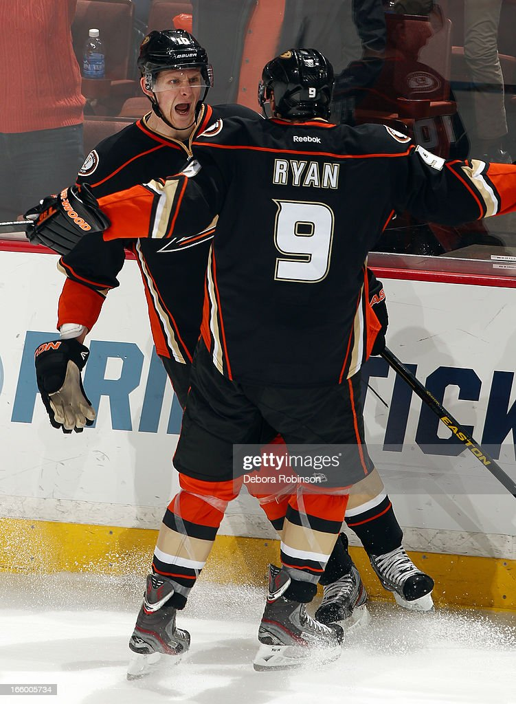 <a gi-track='captionPersonalityLinkClicked' href=/galleries/search?phrase=Corey+Perry&family=editorial&specificpeople=213864 ng-click='$event.stopPropagation()'>Corey Perry</a> #10 and <a gi-track='captionPersonalityLinkClicked' href=/galleries/search?phrase=Bobby+Ryan&family=editorial&specificpeople=877359 ng-click='$event.stopPropagation()'>Bobby Ryan</a> #9 of the Anaheim Ducks celebrate Perry's goal in the second period of the game against the Los Angeles Kings on April 7, 2013 at Honda Center in Anaheim, California.