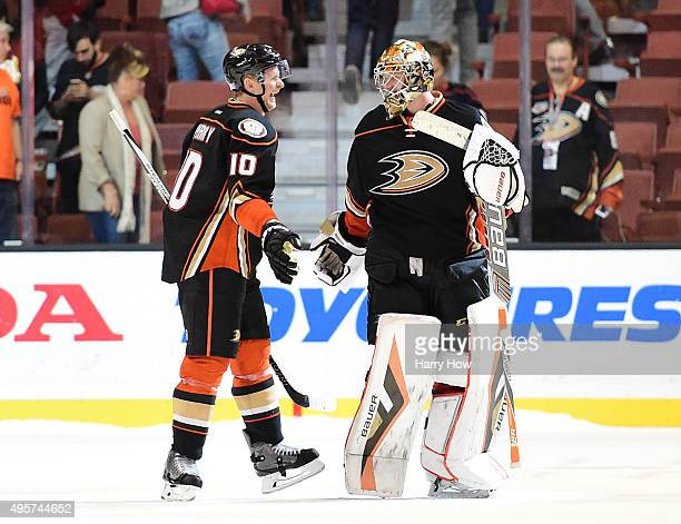 Corey Perry and Frederik Andersen of the Anaheim Ducks celebrate a 32 overtime shootout win over the Florida Panthers at Honda Center on November 4...