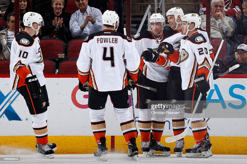 Corey Perry Cam Fowler Tomas Fleischmann Ryan Getzlaf and James Wisniewski of the Anaheim Ducks celebrate after Getzlaf scored a first period goal...