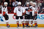 Corey Perry Cam Fowler Tomas Fleischmann Ryan Getzlaf and James Wisniewski of the Anaheim Ducks celebrate after Getzlaf scored a first period goal...