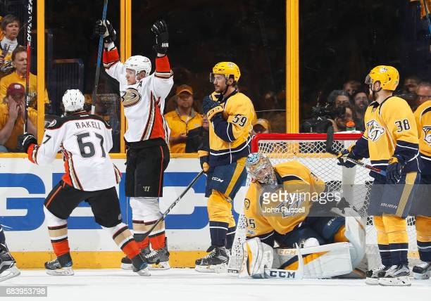 Corey Perry celebrates his goal with Rickard Rakell of the Anaheim Ducks against Pekka Rinne of the Nashville Predators in Game Three of the Western...