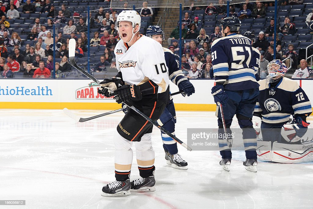 Corey Perry #10 of the Anaheim Ducks celebrates after his team scores their first of two goals during the second period on October 27, 2013 at Nationwide Arena in Columbus, Ohio.