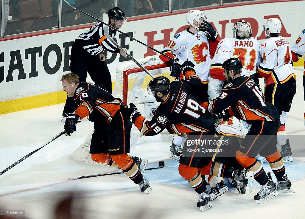 Corey Perry #10 of the Anaheim Ducks celebrates after scoring the game-winning goal in overtime against Calgary Flames in Game Five of the Western Conference Semifinals during the 2015 Stanley Cup Playoffs at Honda Center on May 10, 2015 in Anaheim, California.