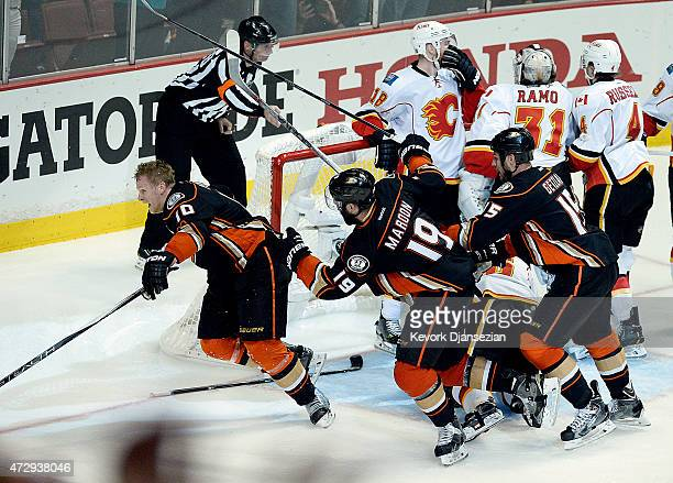 Corey Perry of the Anaheim Ducks celebrates after scoring the gamewinning goal in overtime against Calgary Flames in Game Five of the Western...