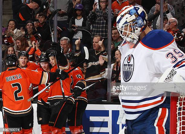 Corey Perry of the Anaheim Ducks celebrates his fist period goal against Anders Nilsson of the Edmonton Oilers on November 11 2015 at Honda Center in...
