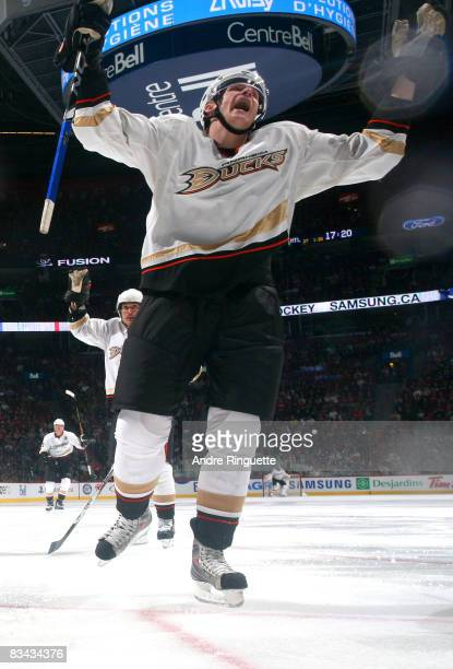 Corey Perry of the Anaheim Ducks celebrates his second period goal against the Montreal Canadiens at the Bell Centre on October 25 2008 in Montreal...