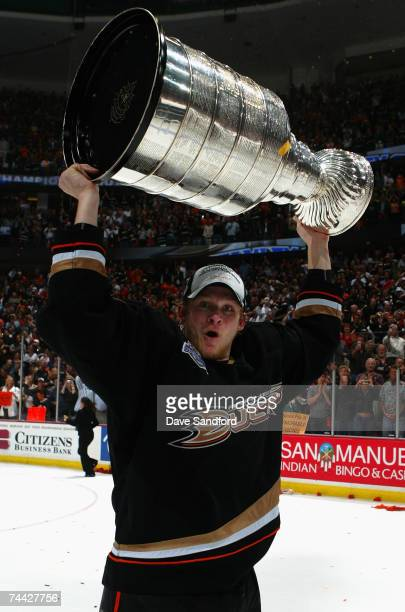 Corey Perry of the Anaheim Ducks celebrates lifting the Stanley Cup after defeating the Ottawa Senators in Game Five of the 2007 Stanley Cup finals...