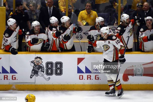 Corey Perry of the Anaheim Ducks celebrates with teammates after scoring a goal during the second period against the Nashville Predators in Game...