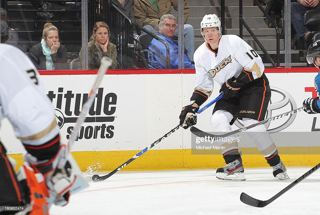 <a gi-track='captionPersonalityLinkClicked' href=/galleries/search?phrase=Corey+Perry&family=editorial&specificpeople=213864 ng-click='$event.stopPropagation()'>Corey Perry</a> #10 of the Anaheim Ducks looks to pass against Colorado Avalanche at the Pepsi Center on February 6, 2013 in Denver, Colorado. The Ducks defeated the Avalanche 3-0.
