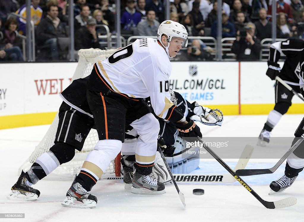 Corey Perry #10 of the Anaheim Ducks loses the puck in front of the net during the game against the Los Angeles Kings at Staples Center on February 25, 2013 in Los Angeles, California.