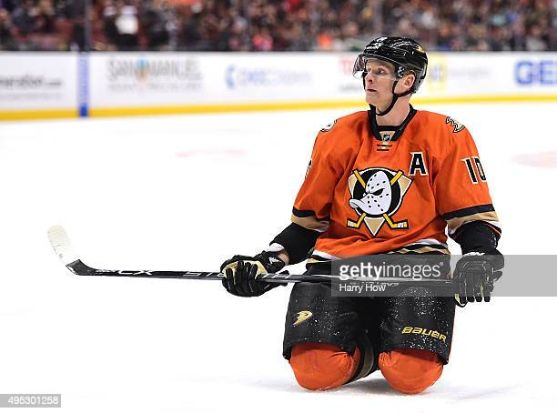 Corey Perry of the Anaheim Ducks reacts after a goal by Calle Jarnkrok of the Nashville Predators during the second period at Honda Center on...