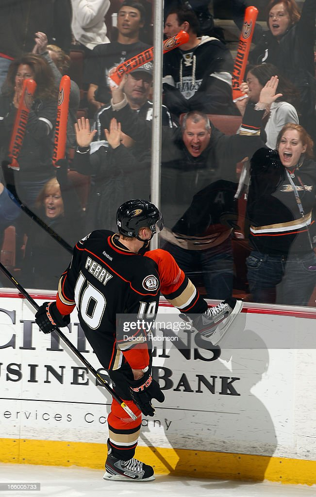 <a gi-track='captionPersonalityLinkClicked' href=/galleries/search?phrase=Corey+Perry&family=editorial&specificpeople=213864 ng-click='$event.stopPropagation()'>Corey Perry</a> #10 of the Anaheim Ducks reacts after scoring a goal in the second period of the game against the Los Angeles Kings on April 7, 2013 at Honda Center in Anaheim, California.